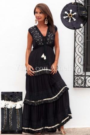 Vestido Negro Abalorios