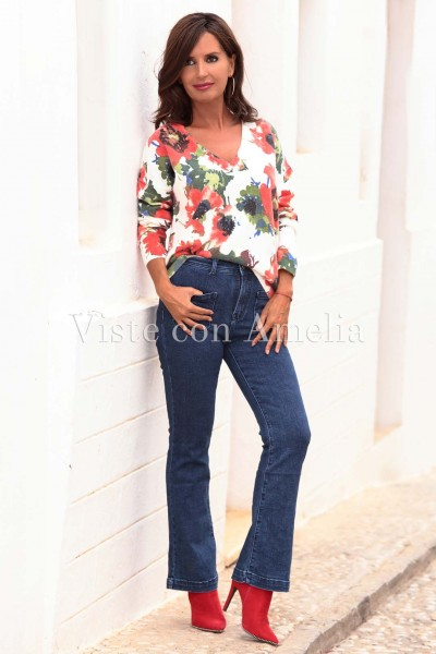 Jeans Campana cintura alta elásticos