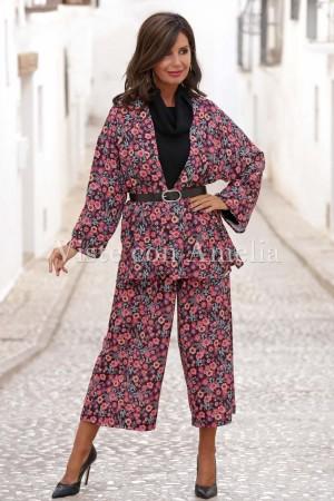 Kimono Flores Retro Fondo negro