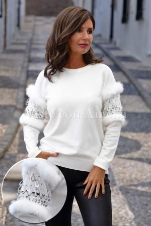 Suéter Abalorio y Pelo